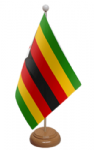 Zimbabwe Desk / Table Flag with wooden stand and base